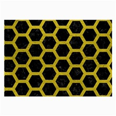HEXAGON2 BLACK MARBLE & YELLOW LEATHER (R) Large Glasses Cloth (2-Side)
