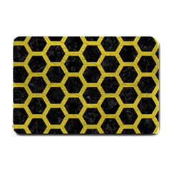 HEXAGON2 BLACK MARBLE & YELLOW LEATHER (R) Small Doormat