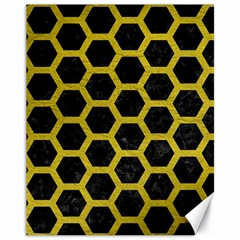 HEXAGON2 BLACK MARBLE & YELLOW LEATHER (R) Canvas 11  x 14