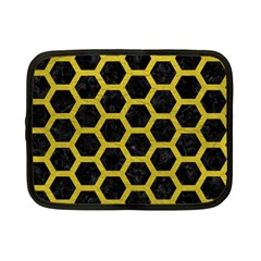 HEXAGON2 BLACK MARBLE & YELLOW LEATHER (R) Netbook Case (Small)