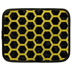 HEXAGON2 BLACK MARBLE & YELLOW LEATHER (R) Netbook Case (Large)