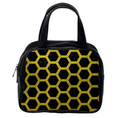 HEXAGON2 BLACK MARBLE & YELLOW LEATHER (R) Classic Handbags (One Side)