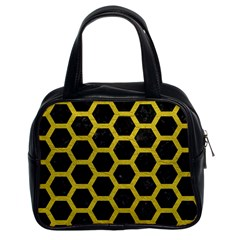 HEXAGON2 BLACK MARBLE & YELLOW LEATHER (R) Classic Handbags (2 Sides)