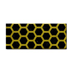 Hexagon2 Black Marble & Yellow Leather (r) Cosmetic Storage Cases by trendistuff