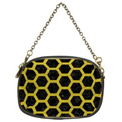 HEXAGON2 BLACK MARBLE & YELLOW LEATHER (R) Chain Purses (One Side)