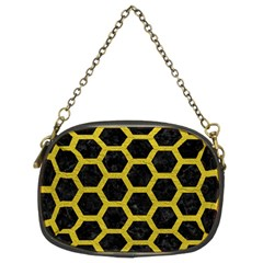 HEXAGON2 BLACK MARBLE & YELLOW LEATHER (R) Chain Purses (Two Sides)