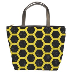 Hexagon2 Black Marble & Yellow Leather (r) Bucket Bags by trendistuff