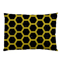 HEXAGON2 BLACK MARBLE & YELLOW LEATHER (R) Pillow Case