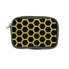 HEXAGON2 BLACK MARBLE & YELLOW LEATHER (R) Coin Purse