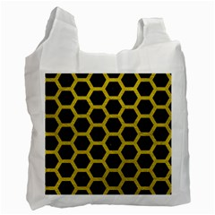 HEXAGON2 BLACK MARBLE & YELLOW LEATHER (R) Recycle Bag (Two Side)