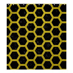 HEXAGON2 BLACK MARBLE & YELLOW LEATHER (R) Shower Curtain 66  x 72  (Large)