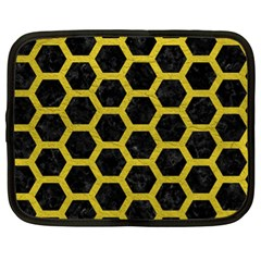 HEXAGON2 BLACK MARBLE & YELLOW LEATHER (R) Netbook Case (XL)