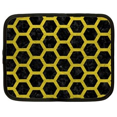 HEXAGON2 BLACK MARBLE & YELLOW LEATHER (R) Netbook Case (XXL)