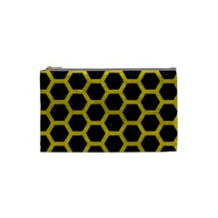 HEXAGON2 BLACK MARBLE & YELLOW LEATHER (R) Cosmetic Bag (Small)