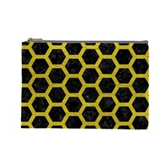 HEXAGON2 BLACK MARBLE & YELLOW LEATHER (R) Cosmetic Bag (Large)
