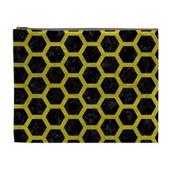 HEXAGON2 BLACK MARBLE & YELLOW LEATHER (R) Cosmetic Bag (XL)