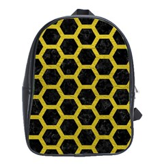 HEXAGON2 BLACK MARBLE & YELLOW LEATHER (R) School Bag (Large)