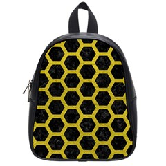 HEXAGON2 BLACK MARBLE & YELLOW LEATHER (R) School Bag (Small)