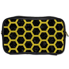 HEXAGON2 BLACK MARBLE & YELLOW LEATHER (R) Toiletries Bags 2-Side