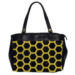 HEXAGON2 BLACK MARBLE & YELLOW LEATHER (R) Office Handbags (2 Sides)