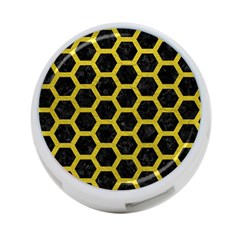 HEXAGON2 BLACK MARBLE & YELLOW LEATHER (R) 4-Port USB Hub (Two Sides)