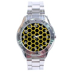 HEXAGON2 BLACK MARBLE & YELLOW LEATHER (R) Stainless Steel Analogue Watch