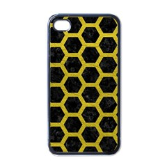 HEXAGON2 BLACK MARBLE & YELLOW LEATHER (R) Apple iPhone 4 Case (Black)
