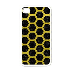 HEXAGON2 BLACK MARBLE & YELLOW LEATHER (R) Apple iPhone 4 Case (White)