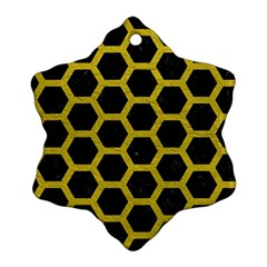 HEXAGON2 BLACK MARBLE & YELLOW LEATHER (R) Snowflake Ornament (Two Sides)