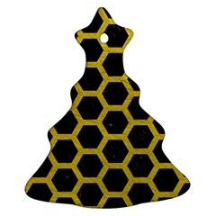 HEXAGON2 BLACK MARBLE & YELLOW LEATHER (R) Christmas Tree Ornament (Two Sides)