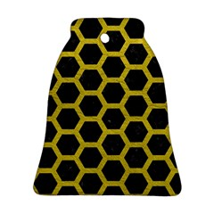HEXAGON2 BLACK MARBLE & YELLOW LEATHER (R) Bell Ornament (Two Sides)