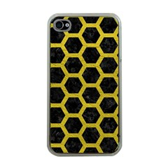 HEXAGON2 BLACK MARBLE & YELLOW LEATHER (R) Apple iPhone 4 Case (Clear)