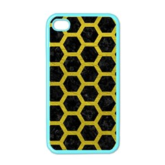 HEXAGON2 BLACK MARBLE & YELLOW LEATHER (R) Apple iPhone 4 Case (Color)