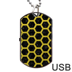 HEXAGON2 BLACK MARBLE & YELLOW LEATHER (R) Dog Tag USB Flash (One Side)