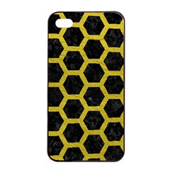 HEXAGON2 BLACK MARBLE & YELLOW LEATHER (R) Apple iPhone 4/4s Seamless Case (Black)