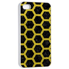 HEXAGON2 BLACK MARBLE & YELLOW LEATHER (R) Apple iPhone 4/4s Seamless Case (White)