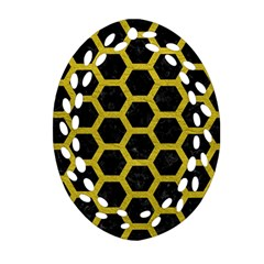 HEXAGON2 BLACK MARBLE & YELLOW LEATHER (R) Ornament (Oval Filigree)