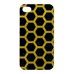 HEXAGON2 BLACK MARBLE & YELLOW LEATHER (R) Apple iPhone 4/4S Hardshell Case