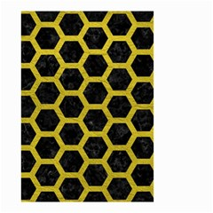 HEXAGON2 BLACK MARBLE & YELLOW LEATHER (R) Small Garden Flag (Two Sides)