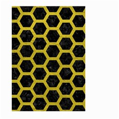 HEXAGON2 BLACK MARBLE & YELLOW LEATHER (R) Large Garden Flag (Two Sides)