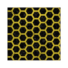 HEXAGON2 BLACK MARBLE & YELLOW LEATHER (R) Acrylic Tangram Puzzle (6  x 6 )