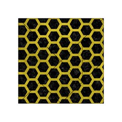 Hexagon2 Black Marble & Yellow Leather (r) Acrylic Tangram Puzzle (4  X 4 ) by trendistuff
