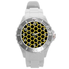 HEXAGON2 BLACK MARBLE & YELLOW LEATHER (R) Round Plastic Sport Watch (L)