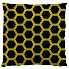 HEXAGON2 BLACK MARBLE & YELLOW LEATHER (R) Large Cushion Case (One Side)