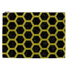 HEXAGON2 BLACK MARBLE & YELLOW LEATHER (R) Cosmetic Bag (XXL)