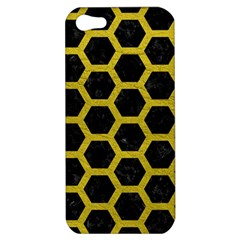 HEXAGON2 BLACK MARBLE & YELLOW LEATHER (R) Apple iPhone 5 Hardshell Case