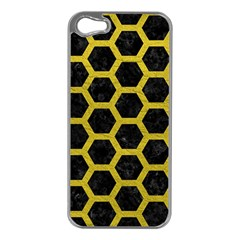 HEXAGON2 BLACK MARBLE & YELLOW LEATHER (R) Apple iPhone 5 Case (Silver)