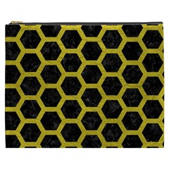 HEXAGON2 BLACK MARBLE & YELLOW LEATHER (R) Cosmetic Bag (XXXL)