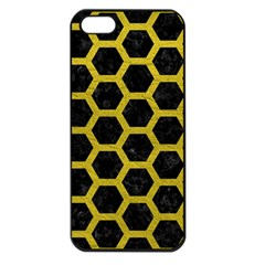HEXAGON2 BLACK MARBLE & YELLOW LEATHER (R) Apple iPhone 5 Seamless Case (Black)