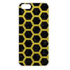 HEXAGON2 BLACK MARBLE & YELLOW LEATHER (R) Apple iPhone 5 Seamless Case (White)